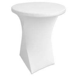 Стейчевый чехол на коктейльный стол цвет белый для столов d-70 см. h-110 см,