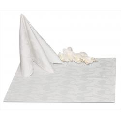 Салфетки 45х45 см ткань Ричард 1625 (перья) цвет белый