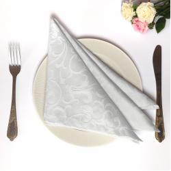 Салфетки 40х40 см ткань Ричард 1751 (крупный вензель) цвет белый