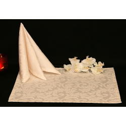 Салфетки 45х45 см ткань Venecia вензель цвет кремовый