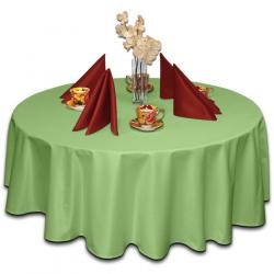 Скатерть круглая ткань Ричард без рисунка цвет салатовый