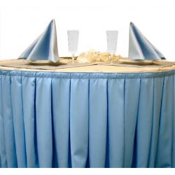 Фуршетная юбка на стол цвет голубой коэффициент складок 1:3 длина 500 см.
